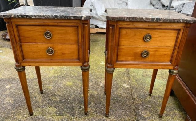 PAIR OF CHERRY LOUIS XVI STYLE MARBLE TOP STANDS