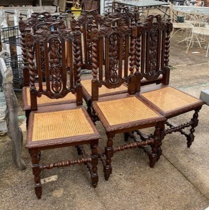 SET OF 6 BARLEY TWIST OAK CANED SEAT CHAIRS WITH FOLIATE AND GRAPES CARVING