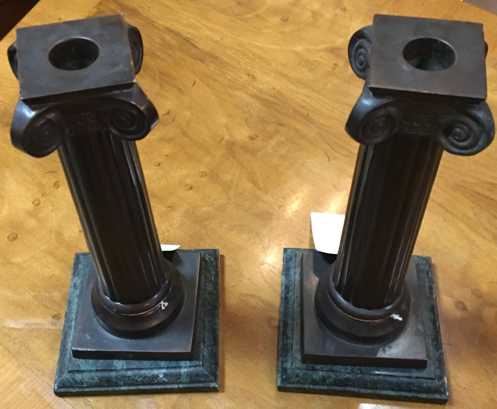 HEAVY COPPER GREEK COLUMN CANDLE STANDS