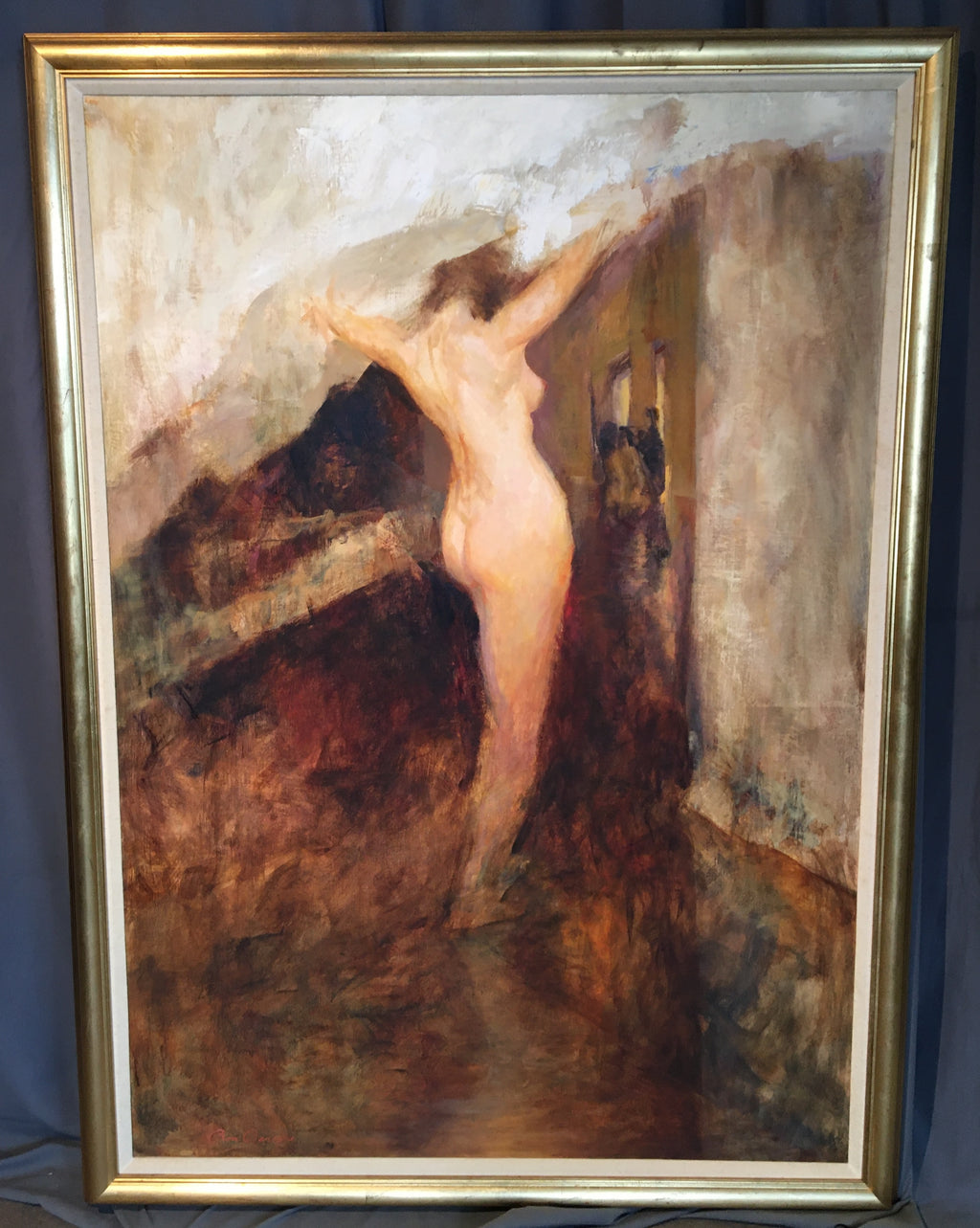 LARGE NUDE OIL PAINTING BY BARSANO