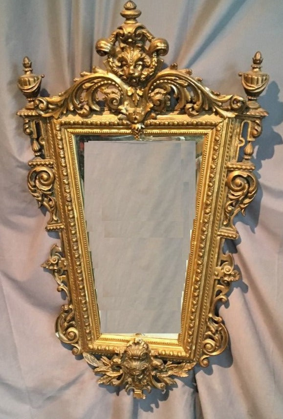 LION AND MALE FACE GOLD PLASTER FRAMED BEVELED MIRROR