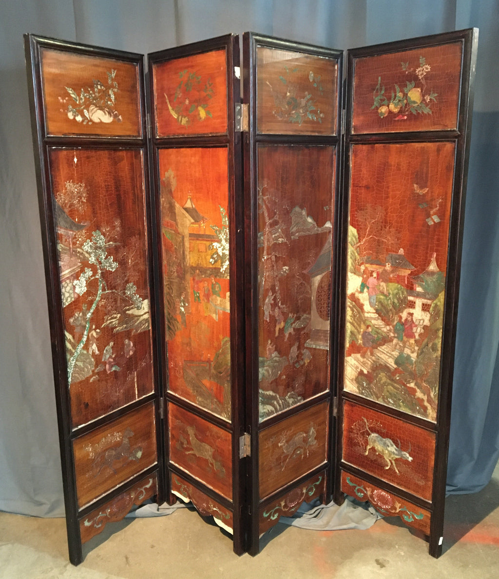 4 PANEL CARVED WOOD SCREEN