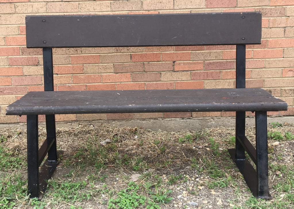 BROWN BENCH WITH BLACK STEEL BASE