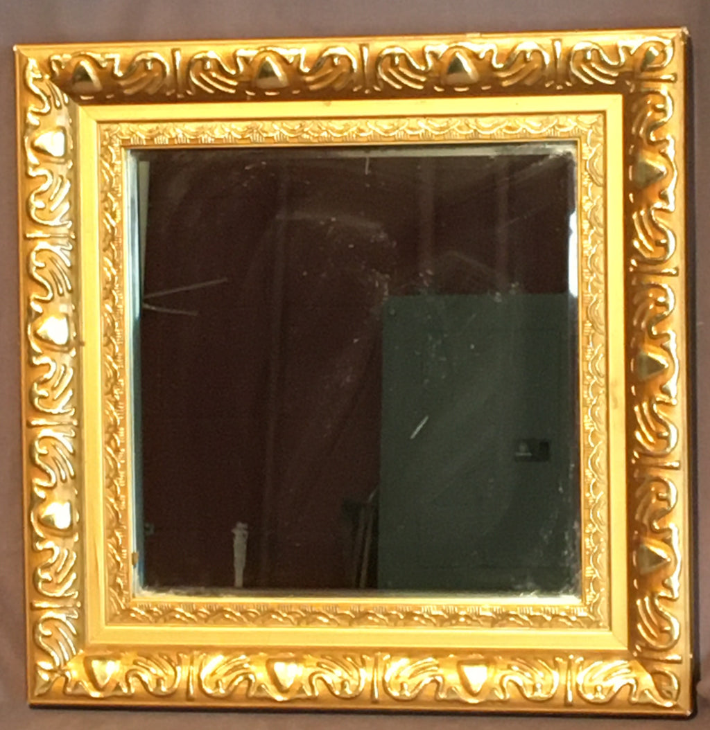 SMALL GOLD FRAME MIRROR WITH FEATURES