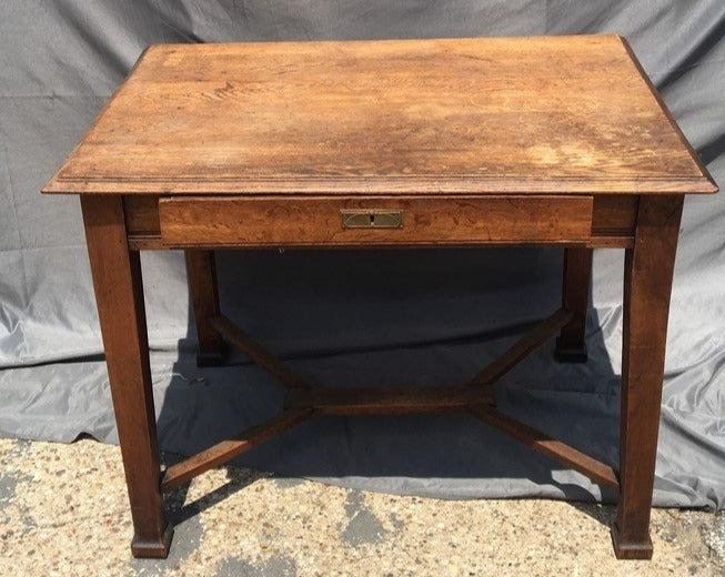 SMALL ARTS AND CRAFTS LIBRARY TABLE WITH DRAWER