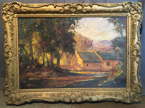 ARTIST SIGNED OIL ON CANVAS PAINTING OF AN OLD FARMHOUSE BY ERROL S. BOYLEX