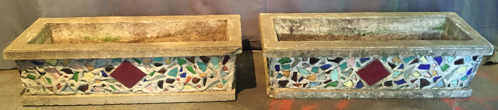 PAIR OF LONG CONCRETE PLANTERS WITH MOSAIC ORNAMENTATION