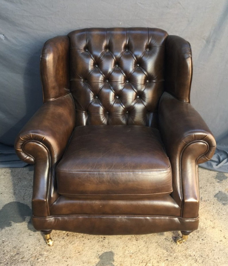 LEATHER WINGBACK CLUB CHAIR-THOMAS LLOYD