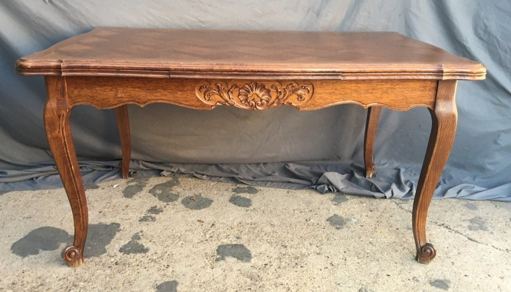 MEDIUM OAK LOUIS XV DRAWLEAF TABLE