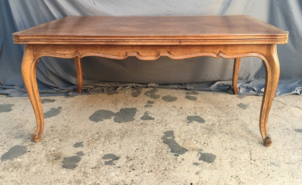 LONG CARVED OAK LOUIS XV DRAWLEAF TABLE