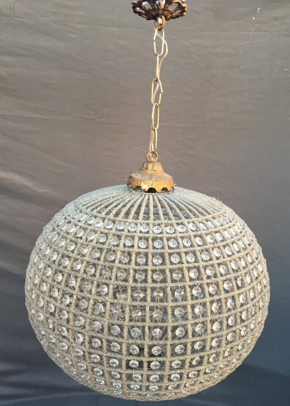 CRYSTAL BEADED BALL FORM HANGING LIGHT 21""