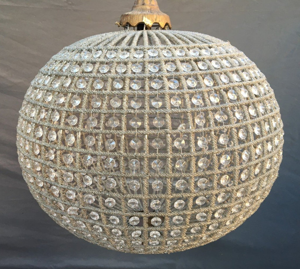 LARGE CRYSTAL BEADED BALL FORM HANGING LIGHT 24""