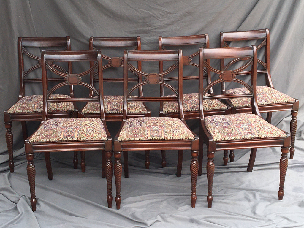 SET OF EIGHT MAHOGANY CHAIRS WITH ONE ARM CHAIR