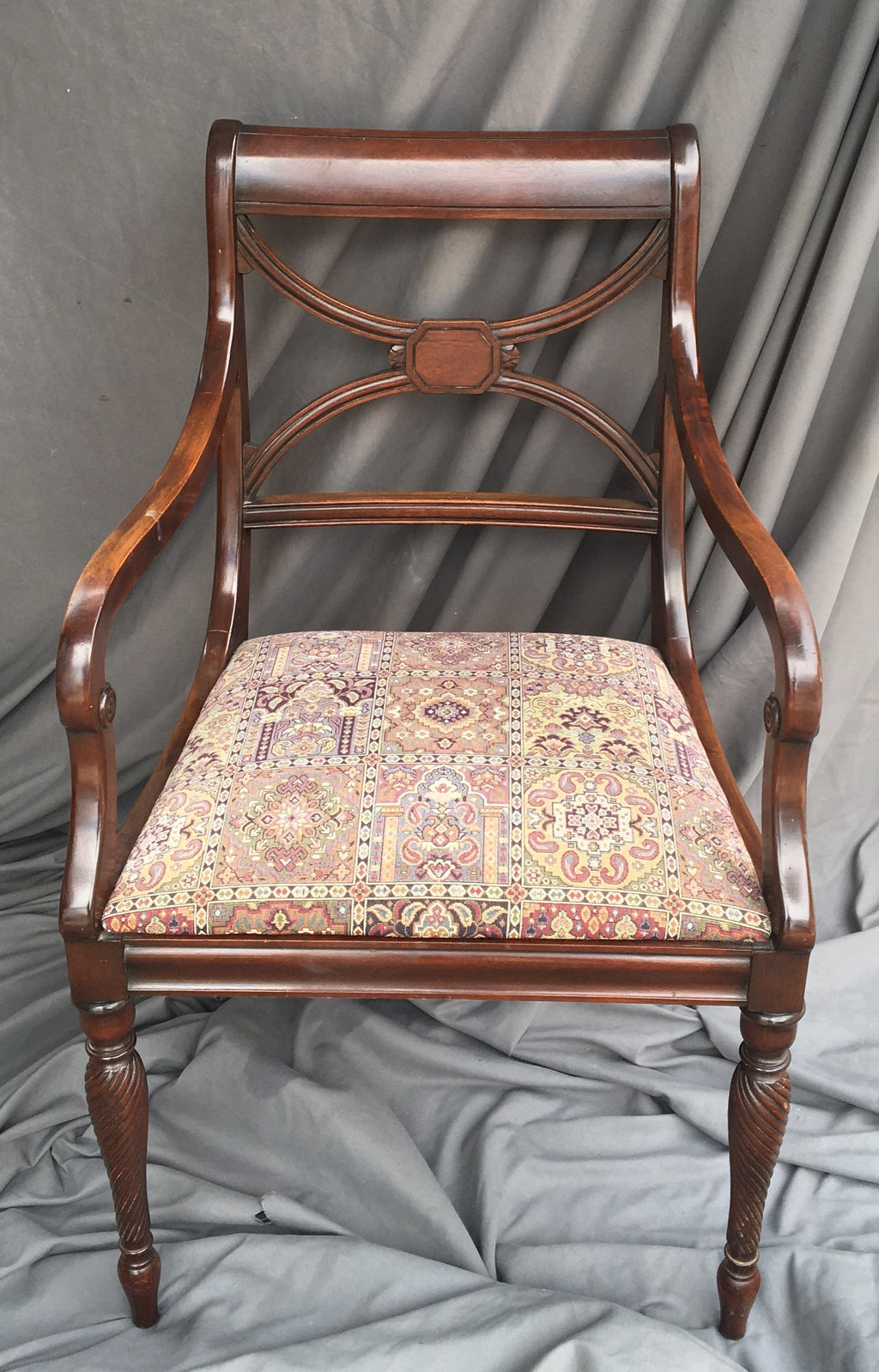 MAHOGANY ARM CHAIR WITH SEAT EMBROIDER