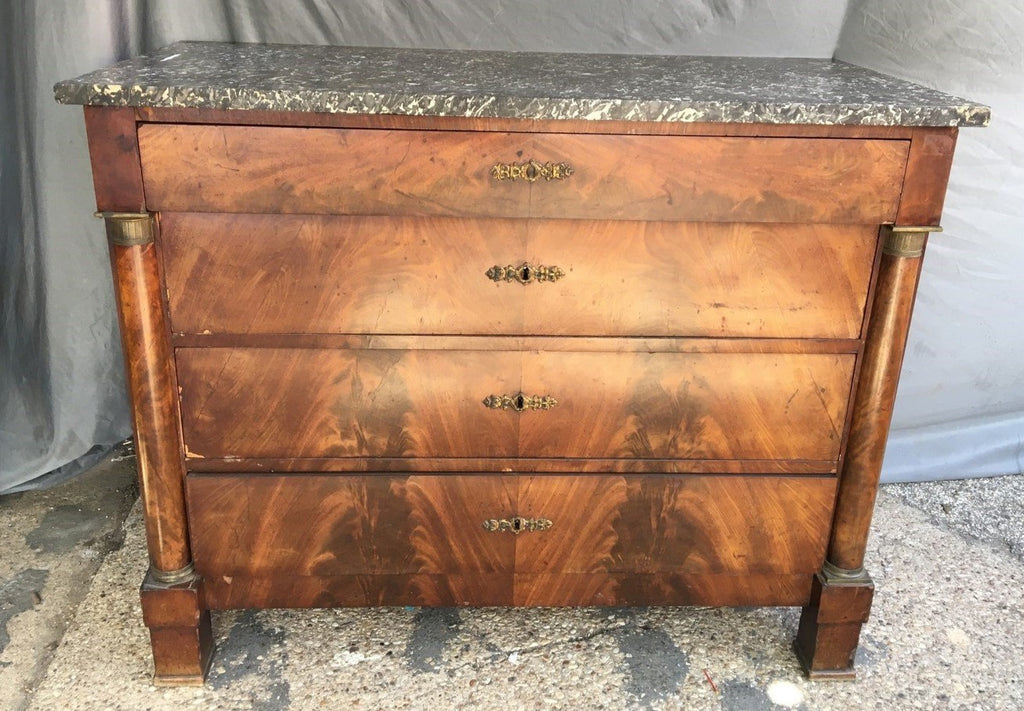 LARGE MAHOGANY MARBLE TOP EMPIRE CHEST
