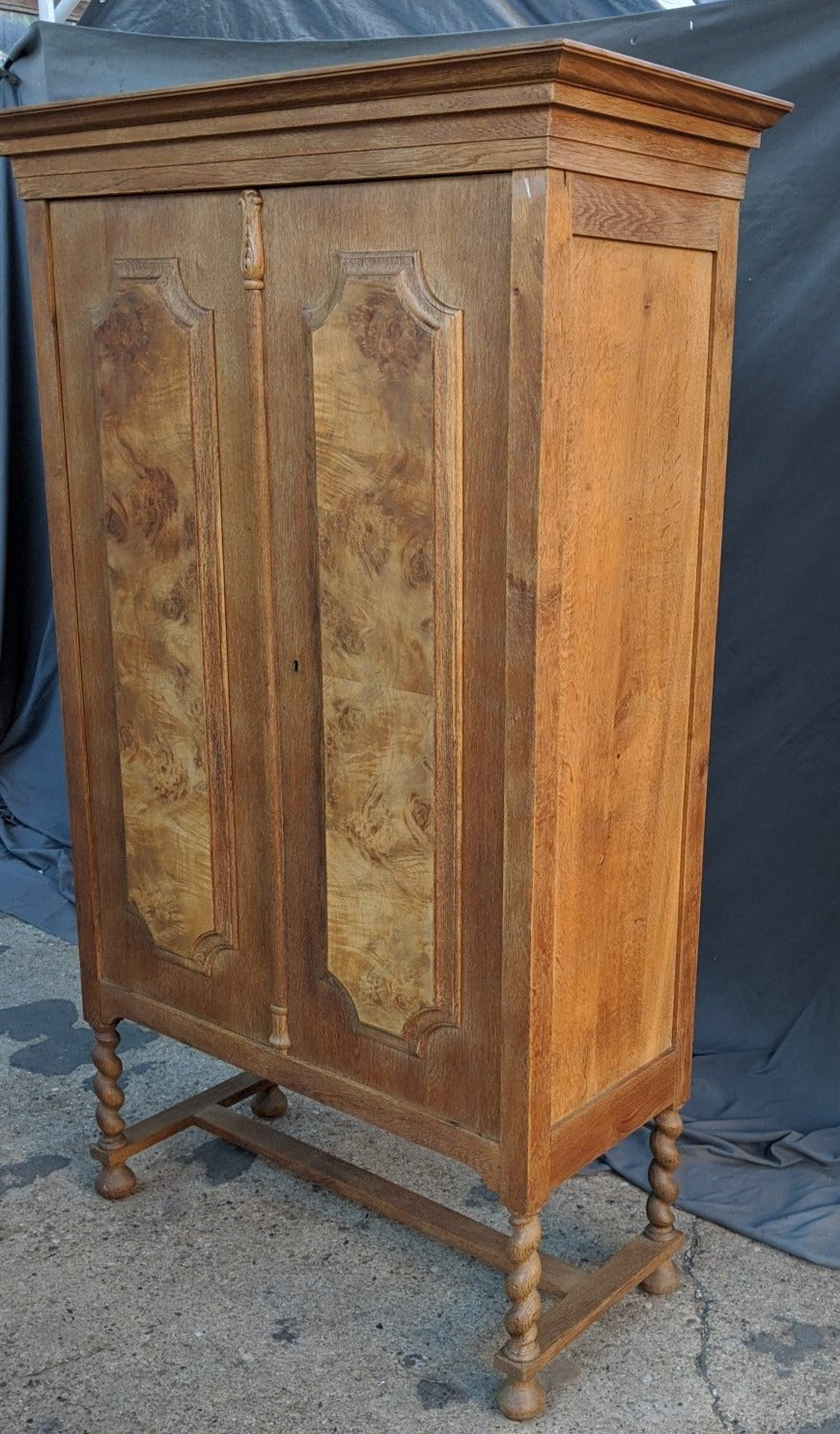 BARLEY TWIST OAK AND BURLED WALNUT CABINET