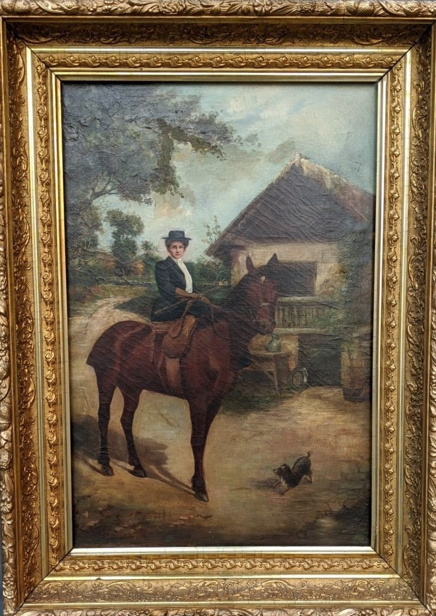 OIL PAINTING OF A LADY RIDING A HORSE WITH A DOG ALONG SIDE