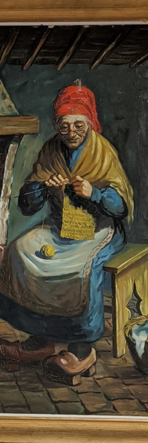 OIL PAINTING OF AN OLD WOMAN KNITTING