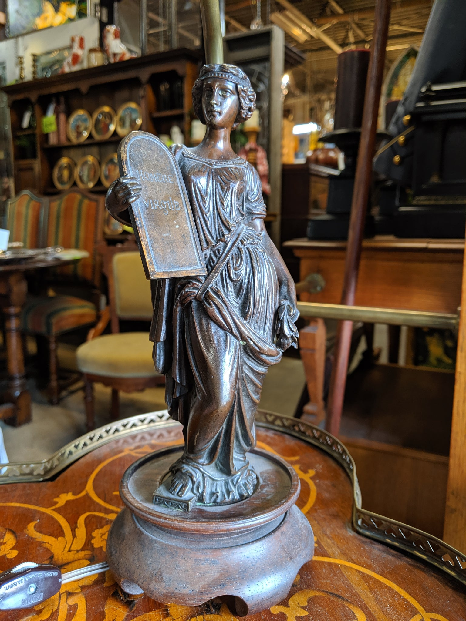 BRONZE FIGURAL WOMAN LAMP WITH SHADE