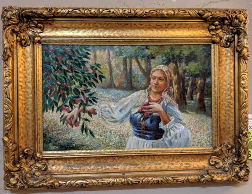 OIL PAINTING OF MAIDEN PICKING FRUIT IN ORNATE FRAME