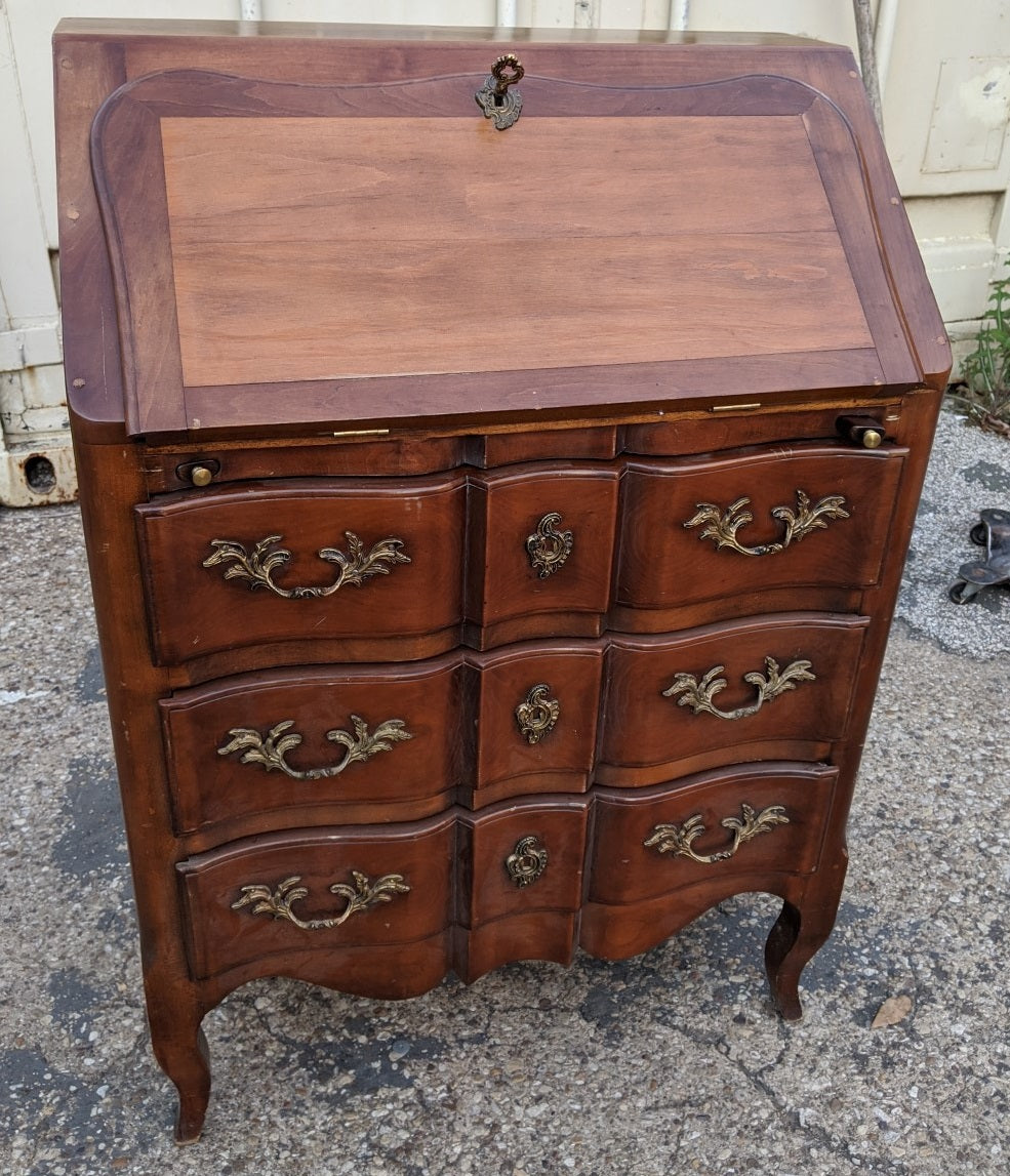 LOUIS XV STYLE DROP FRONT FITTED DESK