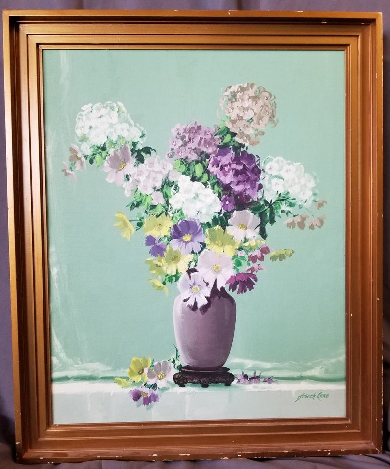 MID CENTURY FLORAL STILL LIFE OIL PAINTING BY FRANK LANE