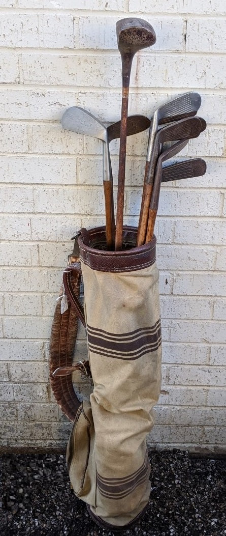 SET OF 10 GOLF CLUBS WITH VINTAGE CANVAS BAG