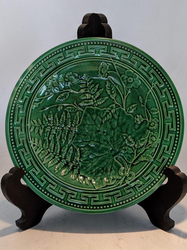 LARGE FERN AND MAPLE LEAF GREEN MAJOLICA PLATE