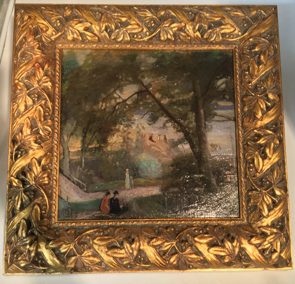 SQUARE SIGNED OIL PAINTING OF PEOPLE IN A HILLSIDE PARK