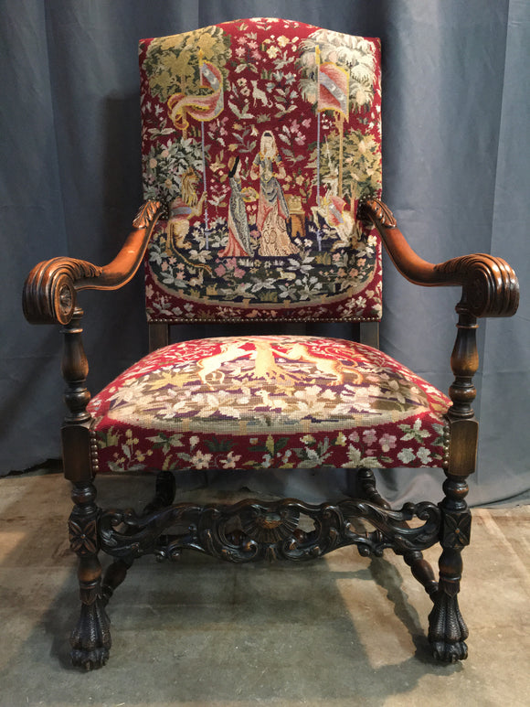 Louis XIII Throne chair with feather carved arms and tapestry upholstery