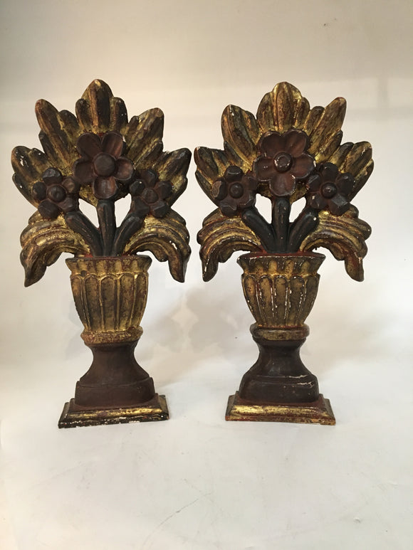 ITALIAN WOOD AND POLY-CHROME DECORATIVE CARVINGS