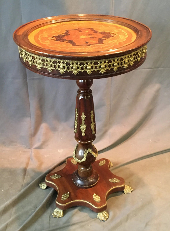 ROUND ORNATE PEDESTAL TABLE WITH ORMOLU