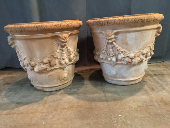 PAIR OF WIDE ITALIAN TERRA COTTA PLANTERS