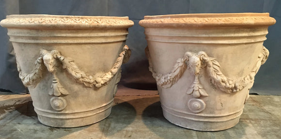 PAIR OF TALL ITALIAN TERRA COTTA PLANTERS