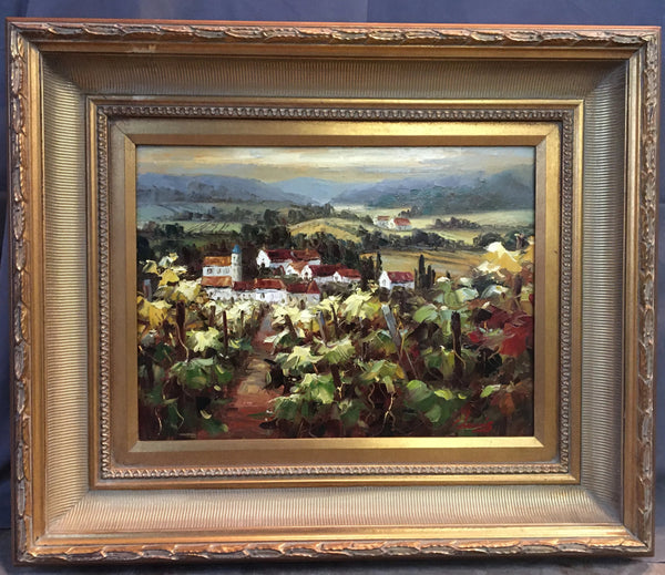 SMALL FRAMED LANDSCAPE WITH VINEYARD OIL PAINTING BY C. DAVIS