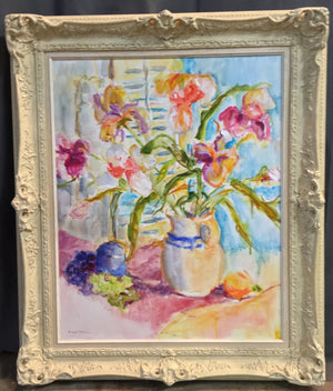 IMPRESSIONIST FLORAL STILL LIFE OIL PAINTING IN WHITE FRAME BY-A. WEIBEL