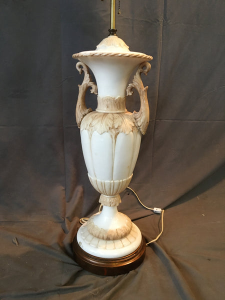 LARGE ORNATE ALABASTER URN LAMP