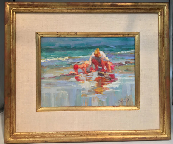 IMPRESSIONIST OIL PAINTING OF WOMAN AND CHILDREN ON THE BEACH BY DIAIN