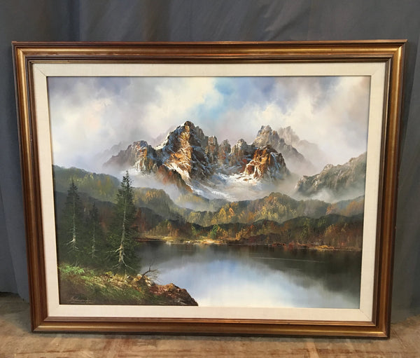 OIL PAINTING OF MOUNTAIN AND WATER SCENE