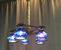 FIVE LIGHT 1930'S CHANDELIER WITH IRIDESCENT GLASS SHADES