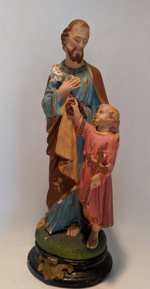 VINTAGE JOSEPH AND JESUS CHALK STATUE IN PINK AND BLUE