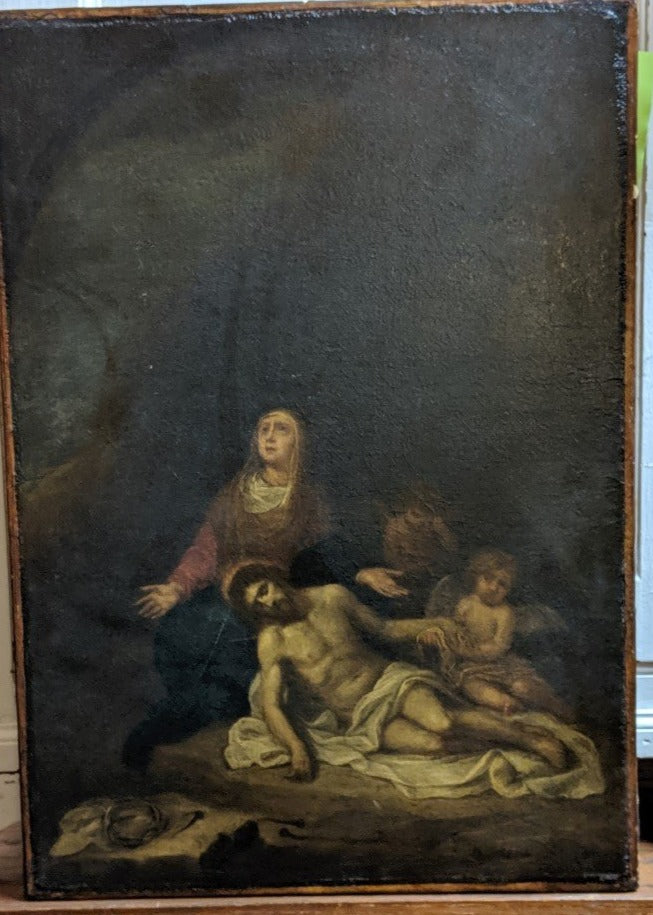 EARLY 19TH CENTURY LA PIETA OIL PAINTING ON CANVAS