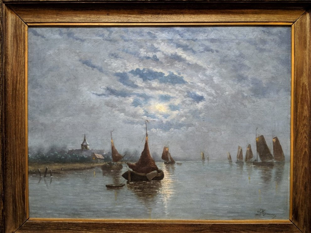 MOON LIGHT ON BOATS IN THE HARBOR-OIL PAINTING BY JOSEPH HEYMAN II