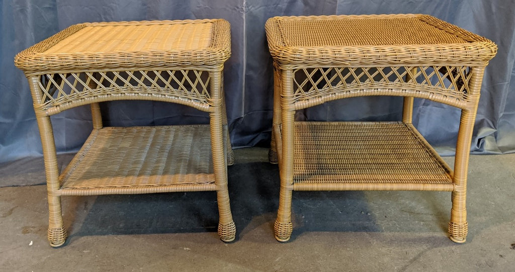 PAIR OF OUTDOOR WICKER STYLE SIDE TABLES