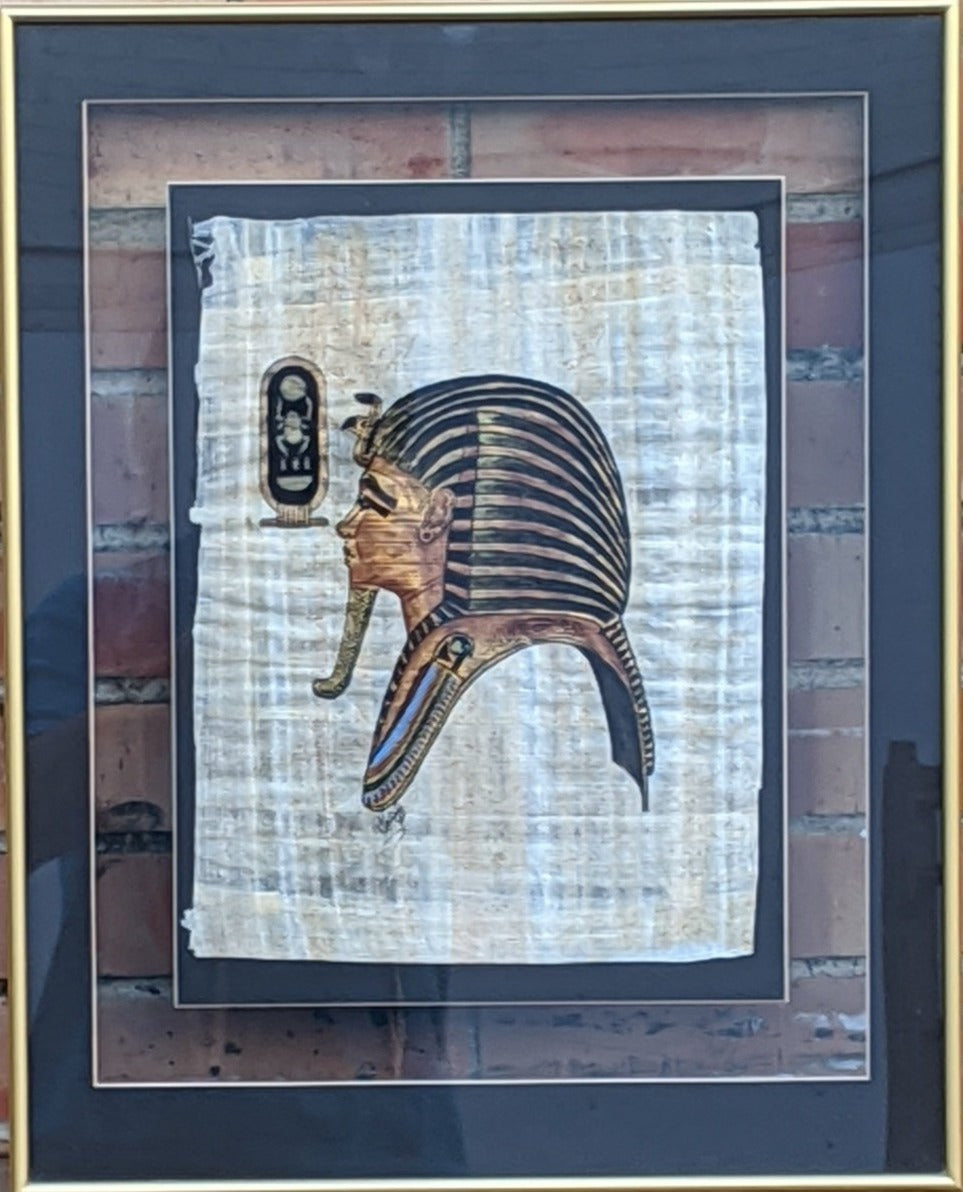EGYPTIAN PHARAOH HEAD PRINT ON PAPYRUS FRAMED IN GLASS