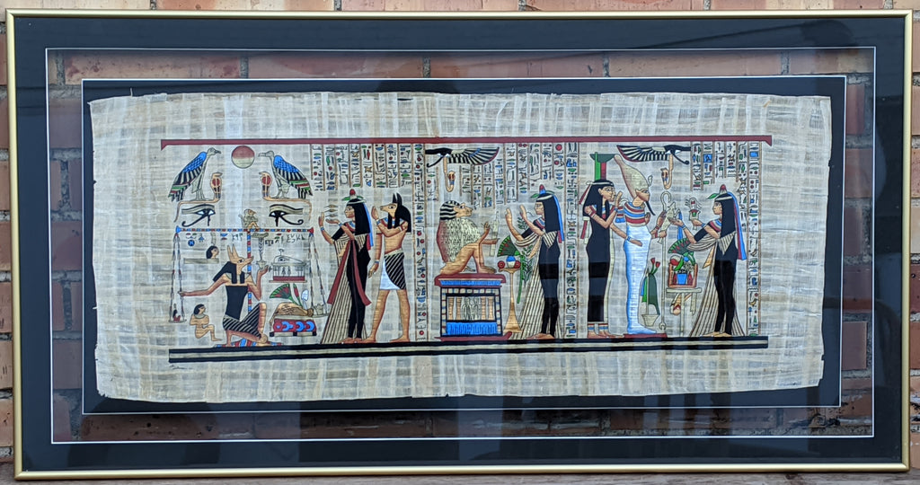 EGYPTIAN PRINT ON PAPYRUS FRAMED IN GLASS