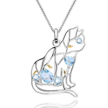 Load image into Gallery viewer, Blue Topaz House Cat Pendant