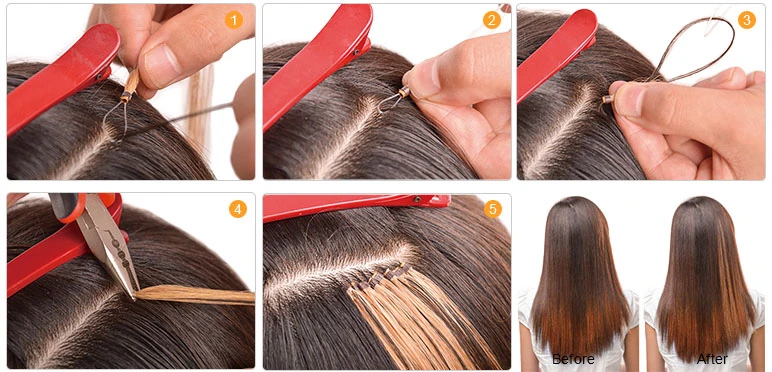 how to apply fish line hair extensions