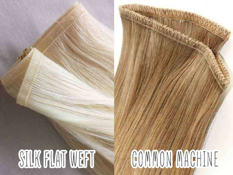 The thickness of the wefts The difference between silk flat weft hair extensions and common weft hair