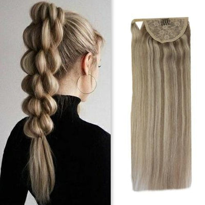 human hair ponytail extension blonde